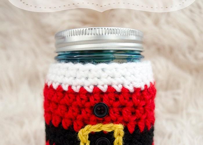 Little Santa Mason Jar Cozy – Free Crochet Pattern
