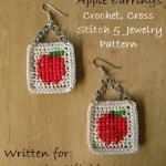 Cross Stitch Apple Earrings – Free Crochet, Cross Stitch, and Jewelry Pattern