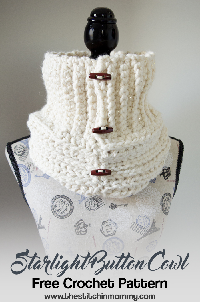 Starlight Button Cowl - Free Crochet Pattern - Scarf of the Month Club hosted by The Stitchin' Mommy and Oombawka Design | www.thestitchinmommy.com
