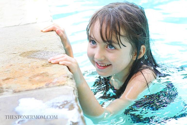 Elizabeth in the pool