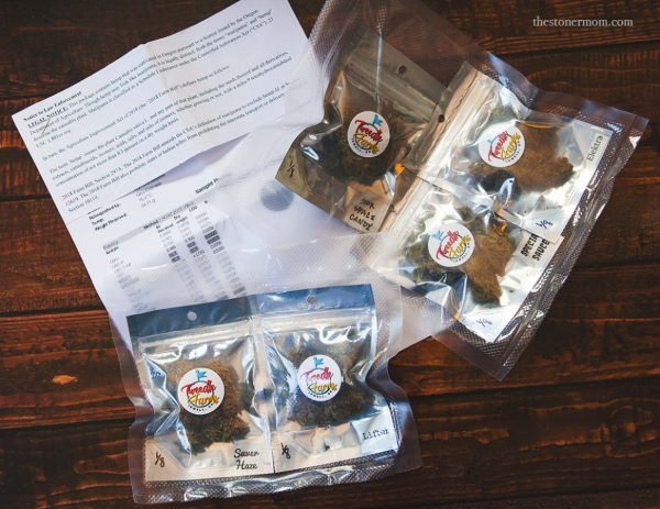 Tweedle Farms hemp buds with included lab results and notice to law enforcement.