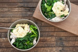 Green Chicken Bowls with Pine Nut Mayo