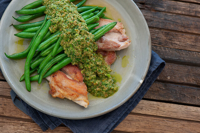 Minute Chicken with Green Olive Chimmichurri