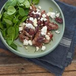 Minute Steaks with Smashed Olives & Goats Cheese