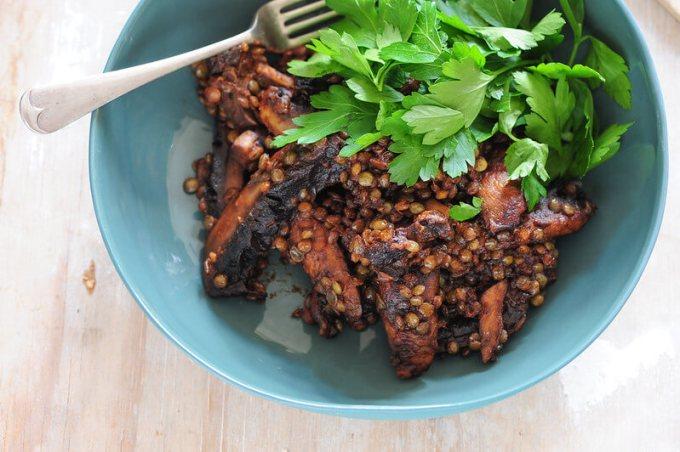 mushrooms lentils