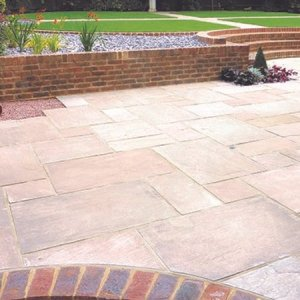 Autumn Brown Indian sandstone patio pavers