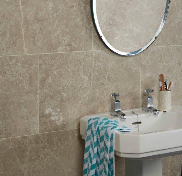 Angora Honed Marble bathroom wall tiles