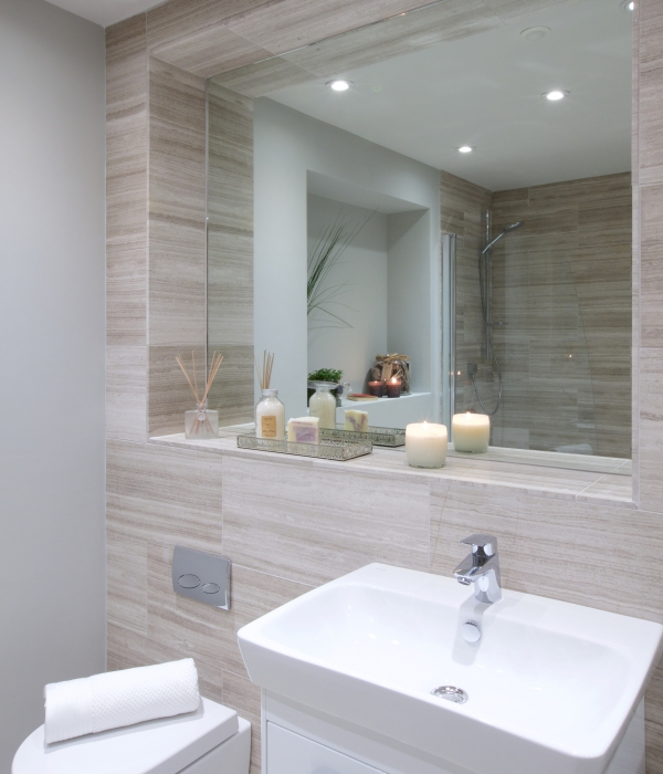 Baobab Limestone Papyrus Honed Finish bathroom mirror surround tiles