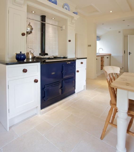 Bergamo Limestone Tumbled Finish kitchen area with stove