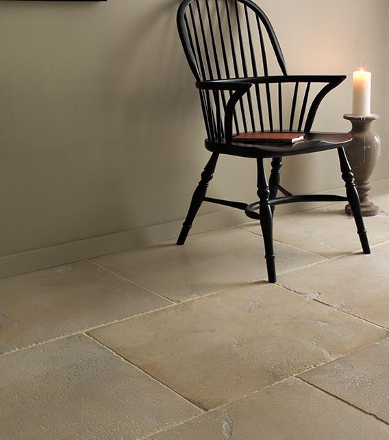 Dorchester Sandstone Tumbled Finish in a reception hallway