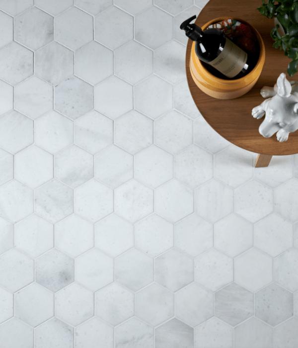 Long Island Marble Honed Large Hexagon Mosaic Birds Eye View
