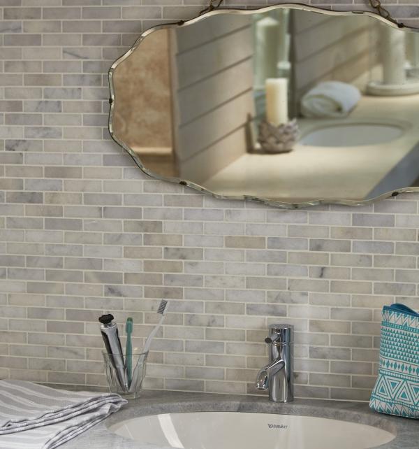 Long Island Marble Slim Brick Mosaic Brickwork Bathroom Tiles