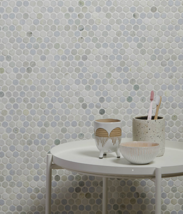 Lotus Penny Marble Mosaic Wall Tiles