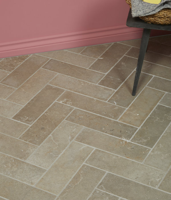 Lucca Limestone Brick Tumbled Finish Floor Tiling Close Up