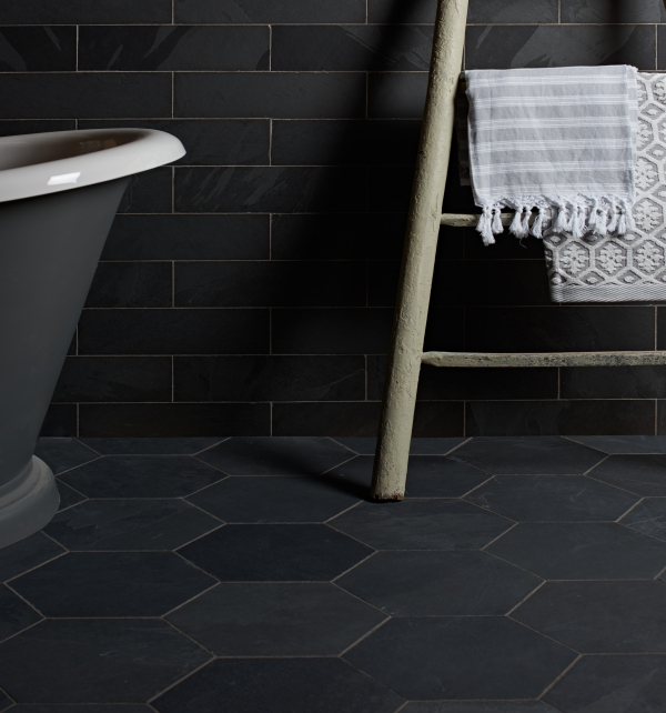 Metropolitan Slate Hexagon Riven Finish Dark Slate Bathroom