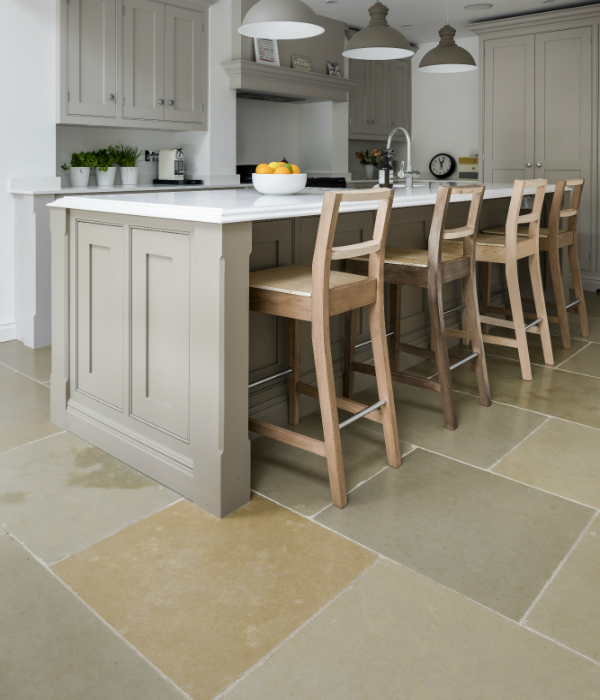Umbria Limestone Tumbled Finish under breakfast bar
