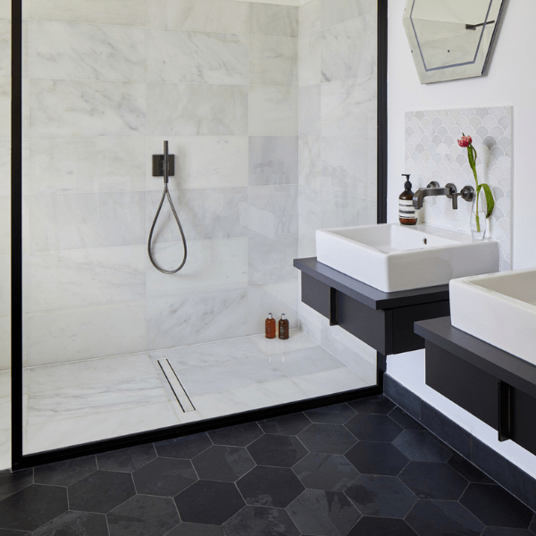Zen Marble Honed Finish Modern shower enclosure