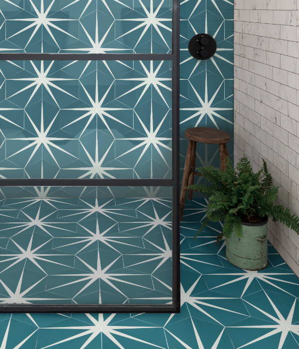 Lily Pad Porcelain tiles in Peacock