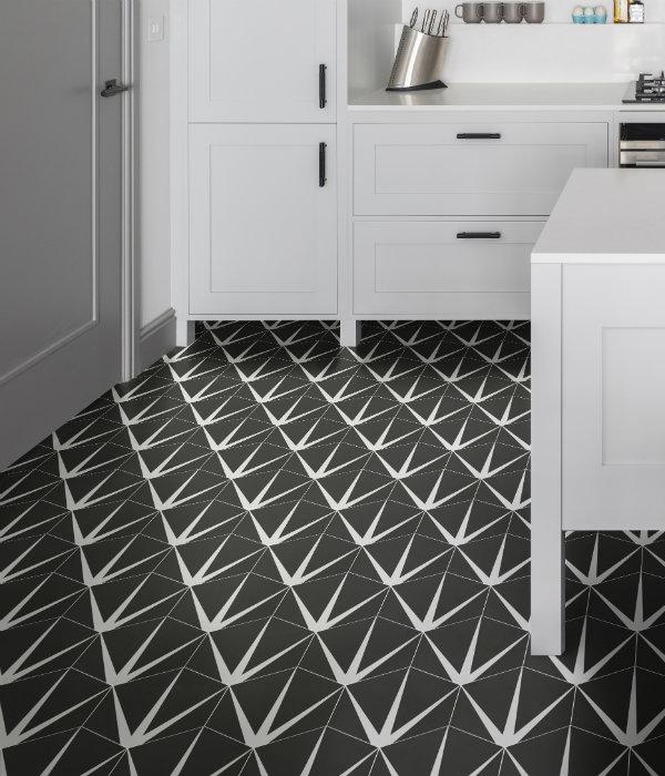 Lily Pad Porcelain kitchen floor tile in Off Black