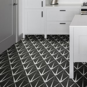 Lily Pad Porcelain kitchen floor tile in Off Black
