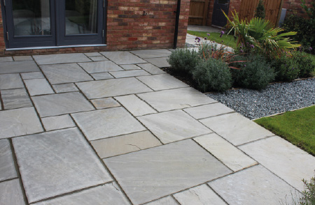 Kandla Grey Indian natural sandstone patio slabs