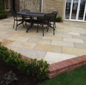 Tuscan Indian natural riven Limestone patio slabs