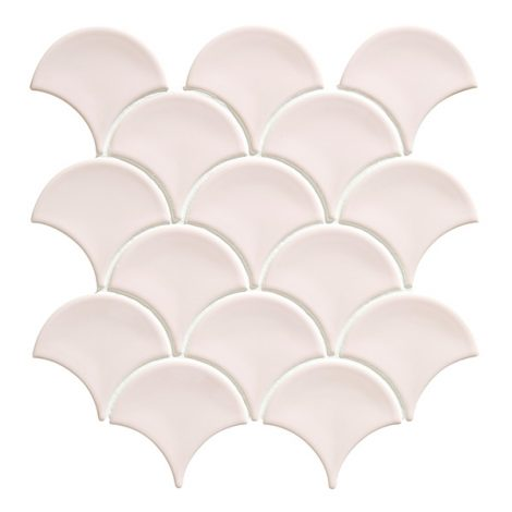 cotton candy pink scallop shaped mosaic porcelain wall and floor tiles