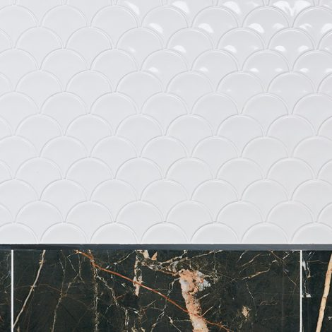 milk white scallop shaped mosaic porcelain wall and floor tiles