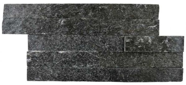 Black natural quartzite split face cladding tile