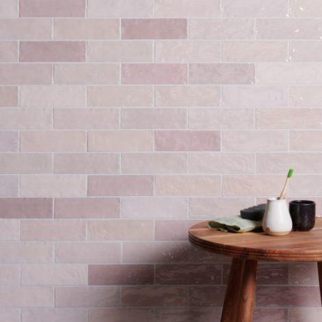 handmade ceramic pink gloss tiles