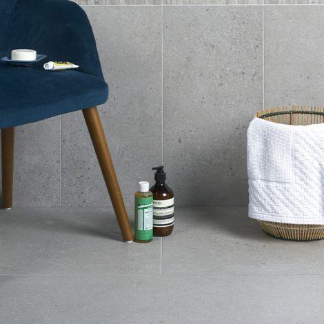 light grey porcelain bathroom wall and floor tile