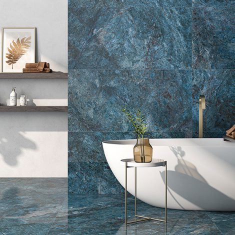aqua marine blue coloured marble effect porcelain wall and floor tiles