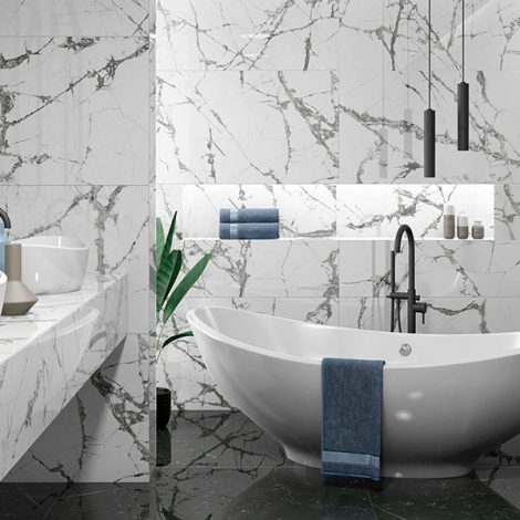 White and grey porcelain bathroom wall tile