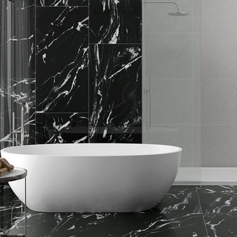 Black and what marble effect porcelain bathroom wall and floor tile