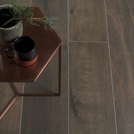 dark brown wood effect porcelain wall and floor tiles