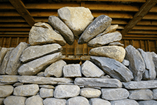Moongate built into the copestones on a wall at The Center