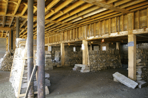 Dry stone walls everywhere inside the barn