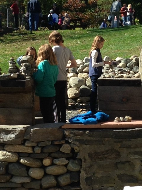 Leaning to build walls in the mini-walling park.