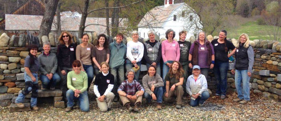 Women's dry stone walling workshop group photo at The Stone Trust