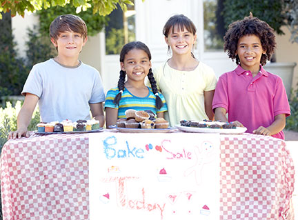 Kids hold bake sale