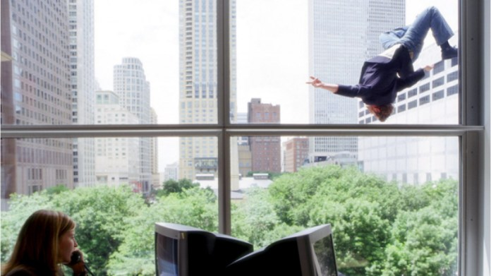 Man jumping from window
