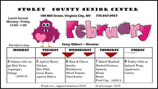 Senior Center Lunch Menu February Week One