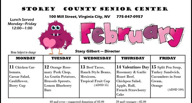 Senior Center Lunch Menu February Week Two