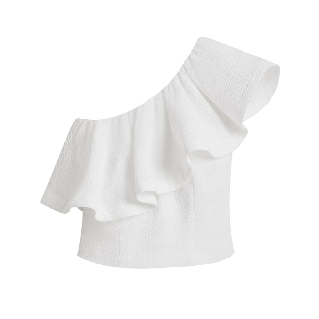 Product image of Cuyana Cropped Flounce Top in White