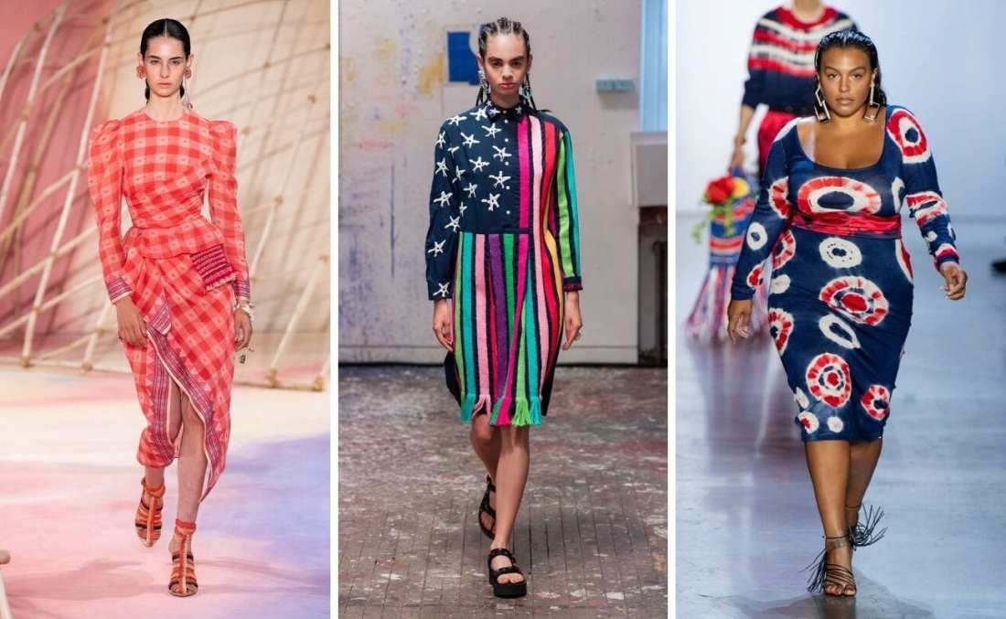 NYFW models wearing spring summer 2020 trends Americana fashion