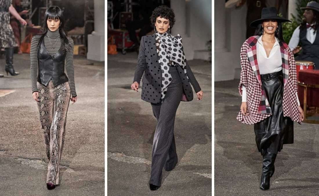 TommyxZendaya Fall 2019 with three models walking down runway wearing 70's funk and menswear for women fashion trend