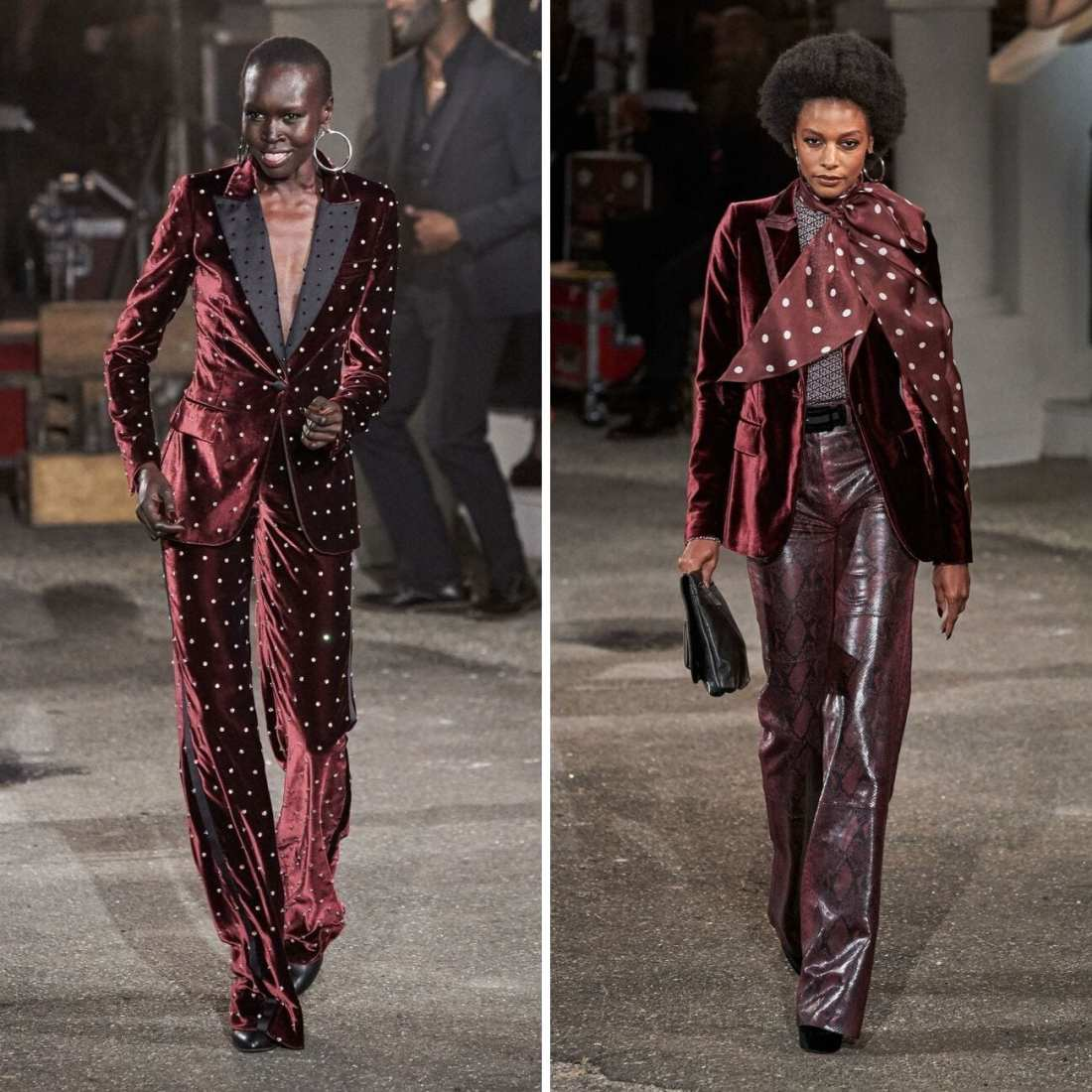 TommyxZendaya Fall 2019 with two models walking down runway.