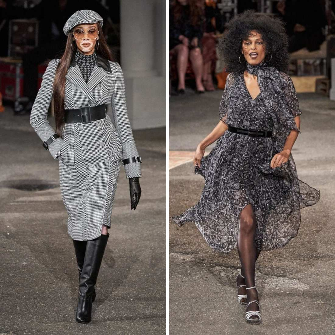 TommyxZendaya Fall 2019 with two models walking down runway. wearing 70's funk and menswear for women fashion trend