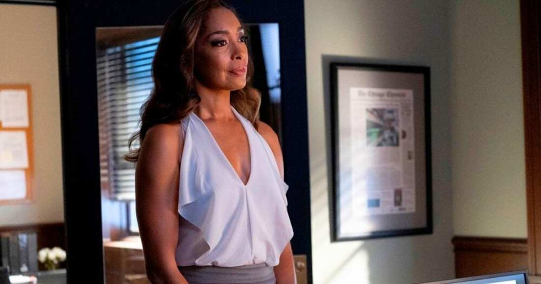 Image of character Jessica Pearson played by actress Gina Torres dressed by USA Network's Pearson by Suits Costume Designer Jolie Andreatta