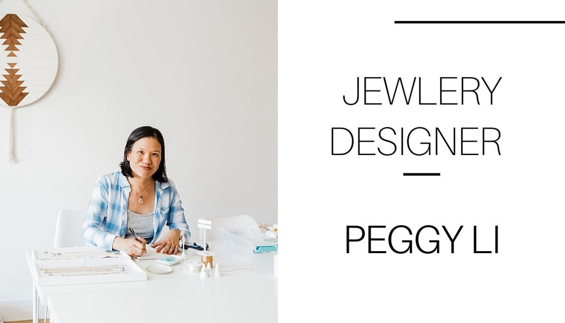 Worn on TV jewelry designer Peggy Li of Peggy Li Creations smiles while working on handmade jewelry